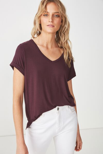 Karly Short Sleeve V Neck Top, WINETASTING