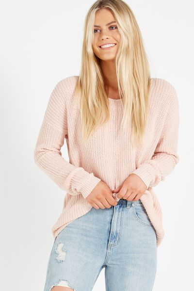 Casey Corset Back Pullover, PINK SAND