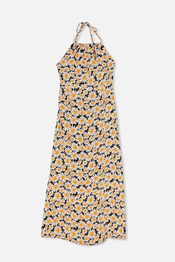 Woven Harper Tie Back Halter Midi Dress, JOSIE DAISY BLACK