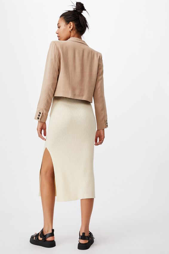 Stella Knit Midi Skirt, COCONUT