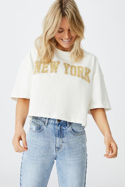 Chopped Boyfriend Tee, NEW YORK/GARDENIA
