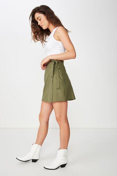 Woven Heidi Wrap Mini Skirt, BURNT OLIVE