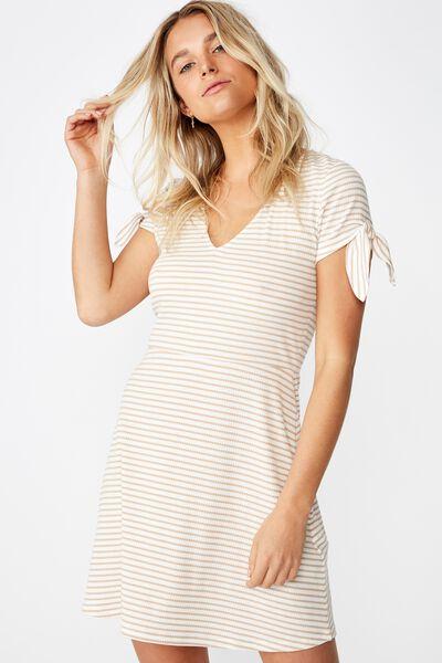 Sadie Fit And Flare Short Sleeve Mini Dress, LULU STRIPE GARDENIA/ NOMAD RIB