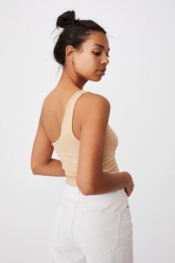 One Shoulder Sleeveless Top, WARM STONE
