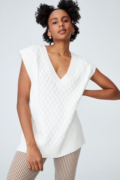 Cable Tunic Vest, SNOW WHITE
