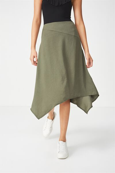Woven Amy Assymetric Hem Midi Skirt, SOFT KHAKI
