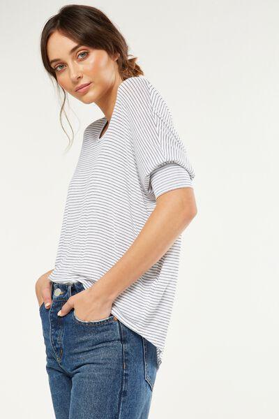 Bianca Long Sleeve Top, DARA STRIPE WHITE / MOONLIGHT