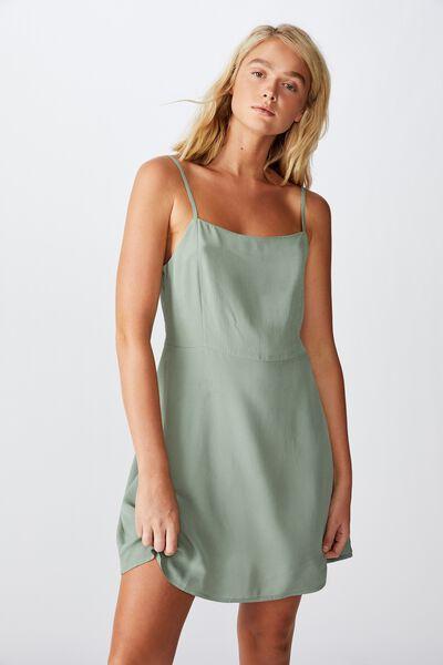 Woven Kendall Mini Dress, CHINOIS GREEN