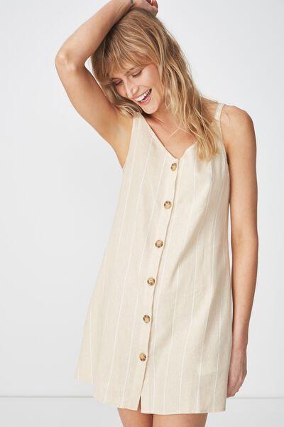 Woven Margot Slip Dress, BUTTON THROUGH BRENDA STRIPE/WHITE PARCHMENT
