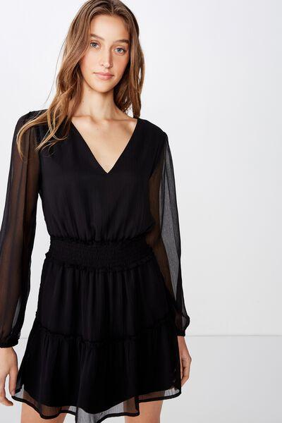 Woven Lexia Long Sleeve Mini Dress, BLACK