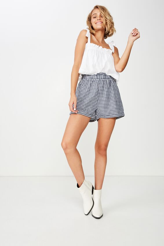 Maisy Paperbag Short, ABBEY GINGHAM NAVY WHITE