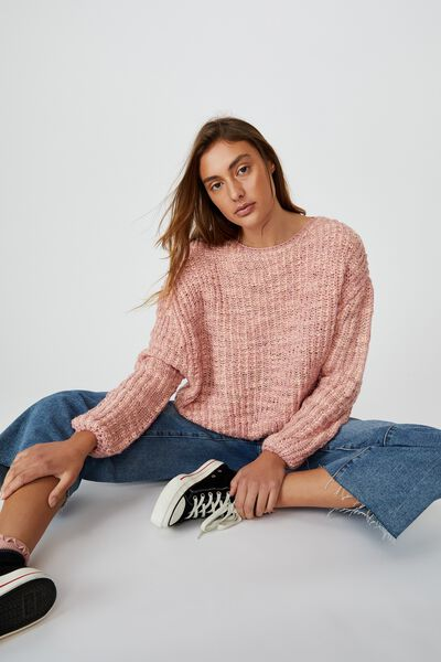 Two Toned Pullover, ROSE MUSK/EVENING SANDS