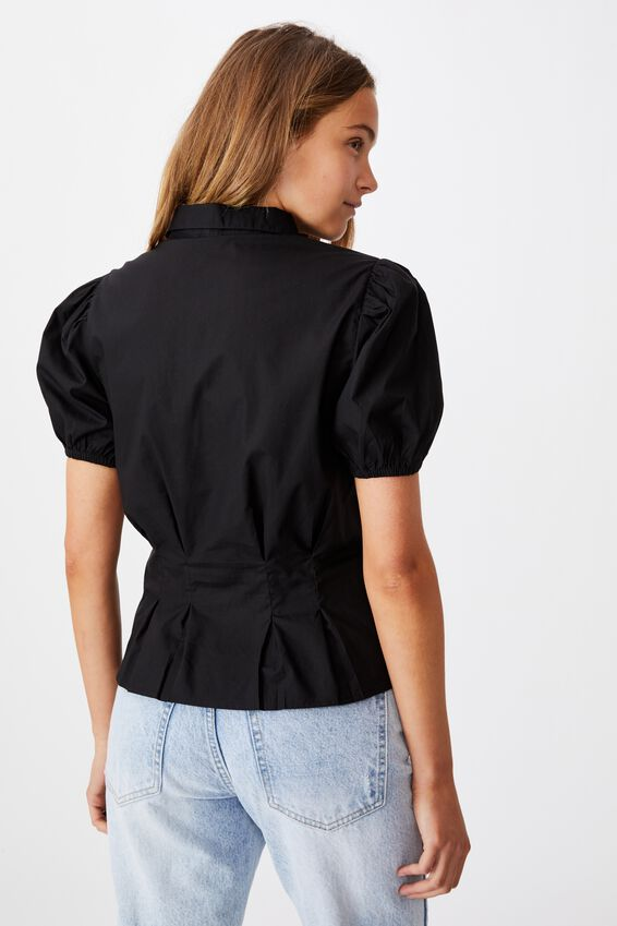 Lila Puff Sleeve Shirt, BLACK