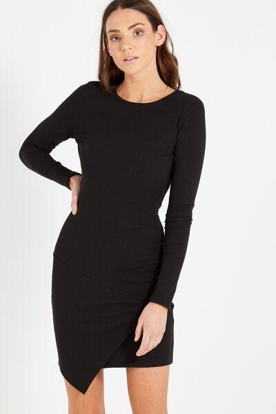 Riley Long Sleeve Assymetric Bodycon Dress, BLACK
