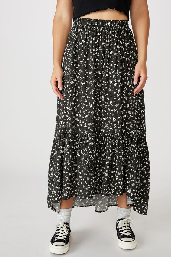 Tiered Maxi Skirt, BRIANNA DITSY RAVEN