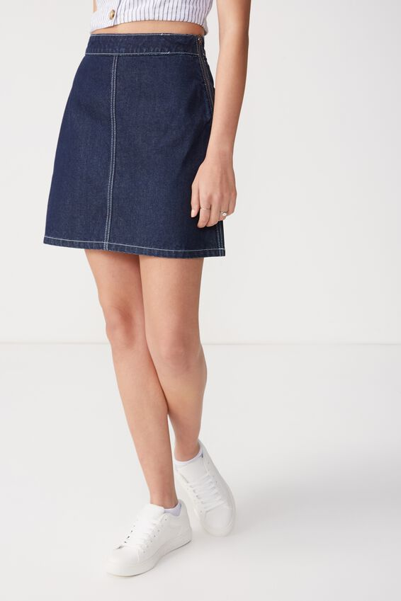 Denim Aline Skirt, DARK RINSE