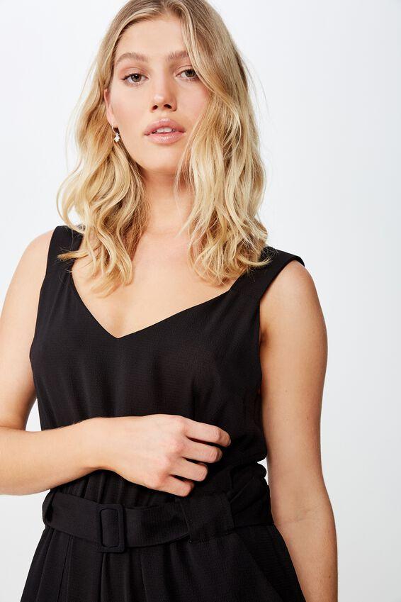 Woven Jillian Strappy Jumpsuit, BLACK