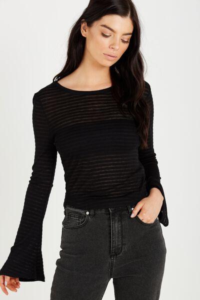 Sharnia Chop Bell Sleeve Top, BLACK