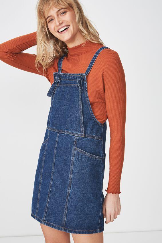 Denim Pinafore Dress, MID BLUE WASH KNOT