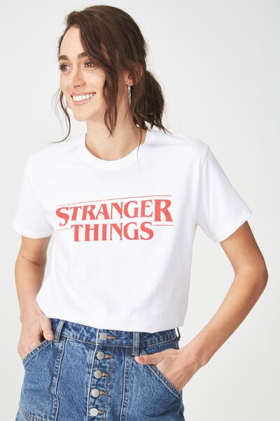 0007c925cab6 Tbar Fox Graphic T Shirt, LCN STRANGER THINGS LOGO/WHITE