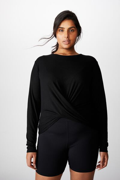 Curve Active Knot Front Long Sleeve Top, BLACK