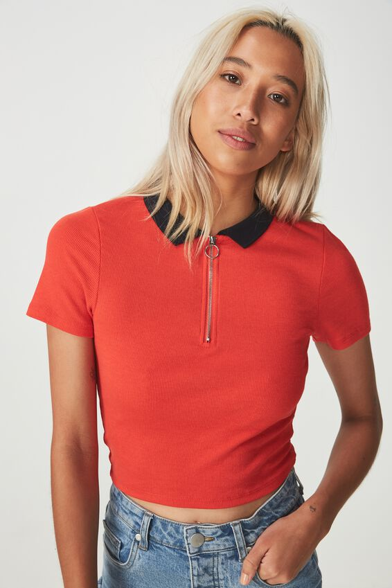 Nadine Zip Front Short Sleeve Top, FLAME SCARLET/DEEPEST NAVY COLLAR
