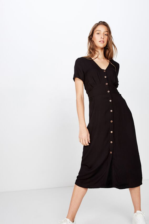 Woven Cherry Button Front S/S Midi Dress, BLACK- V