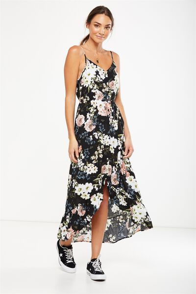 Woven Katrina Button Through Hi Low Maxi Dress, DANI FLORAL TOTAL ECLIPSE