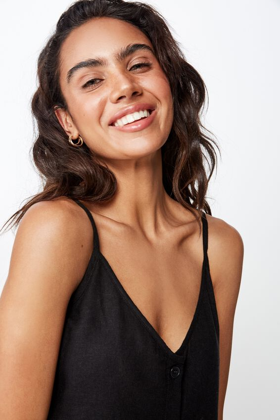 Amy V Neck Cami With Buttons, BLACK