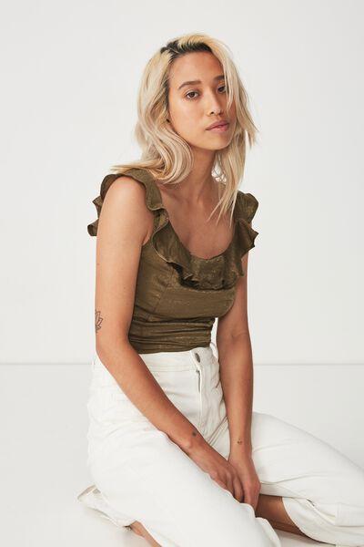 Amelia Frill Top, BURNT OLIVE