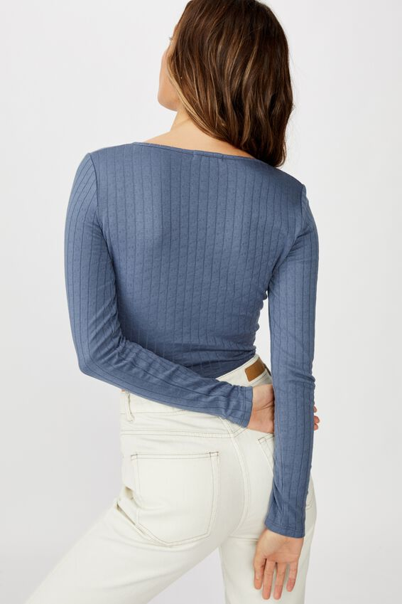 Florence U/Notch Long Sleeve Top, GRISAILLE POINTELLE