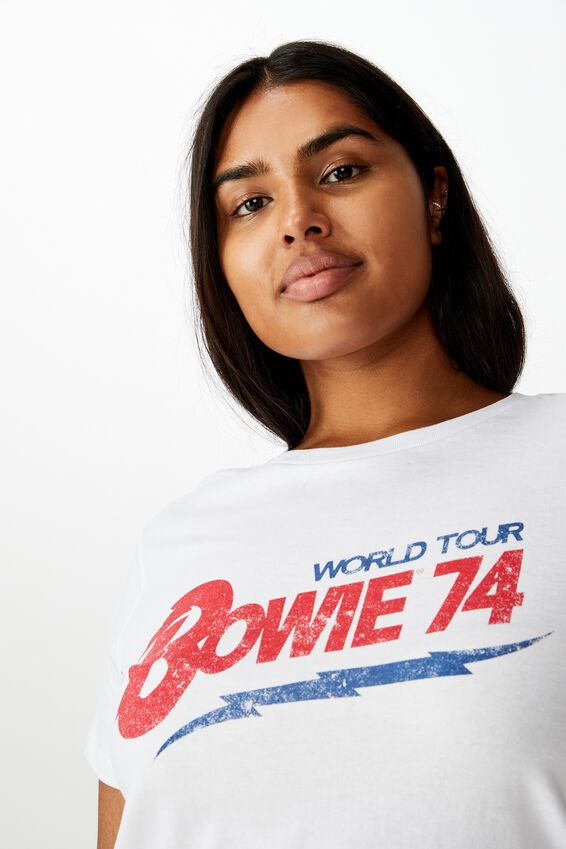 Curve Graphic Licence Fitted Tee, LCN BOWIE WORLD TOUR/WHITE