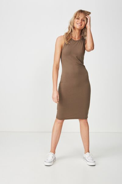 Lena Midi Dress, CANTEEN GREEN