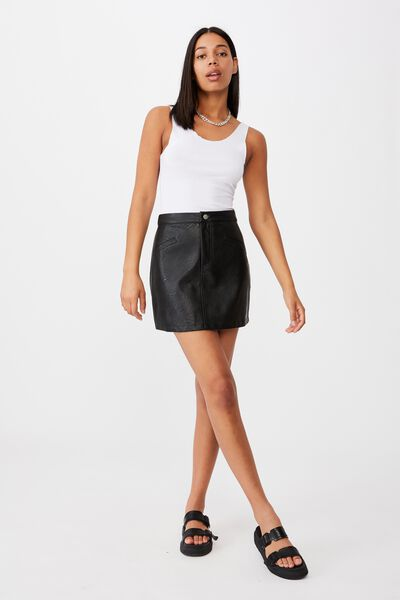 Vegan Pu Mini Skirt, BLACK