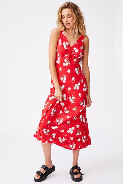 Woven Marcy Strappy Maxi Dress, GEORGIA DAISY LUCKY RED