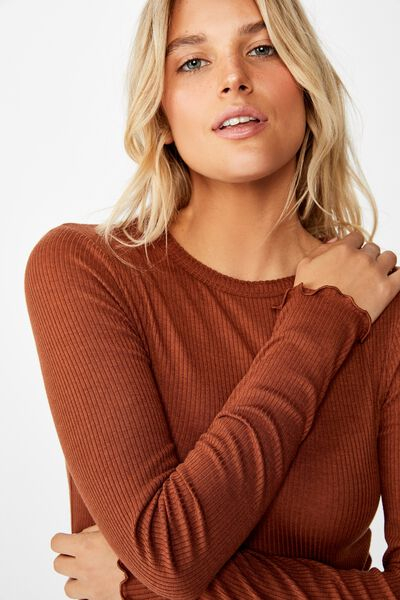 The Sister Long Sleeve Top, TORTOISE SHELL
