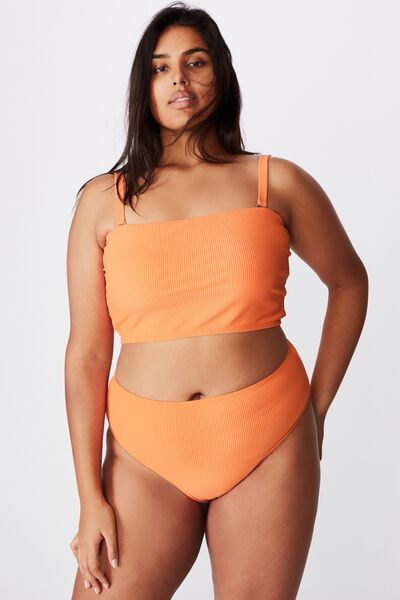 Curve High Waisted Full Bikini Bottom, PEACH RIB