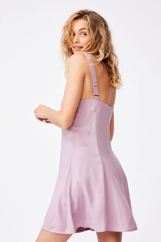 Woven Blair Button Through Strappy Mini Dress, SOFT MAUVE