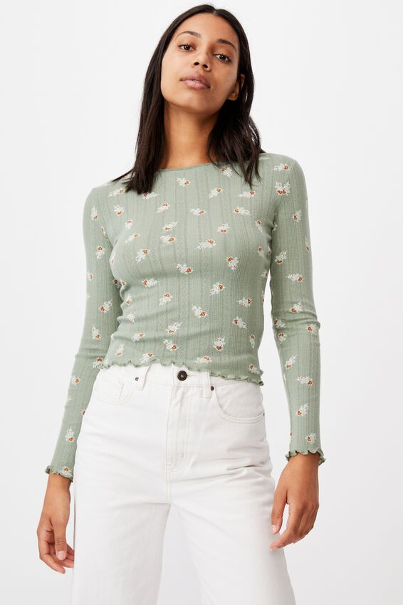Phoenix Pointelle Long Sleeve Top, ARABELLA FLORAL MOUNTAIN SAGE