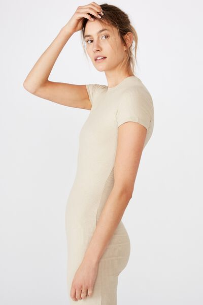 Essential Short Sleeve Bodycon Midi Dress, SILVER LINING RIB