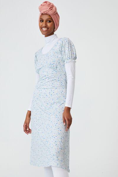 Elina Short Sleeve Midi Dress, ASHLEE DITSY WHITE