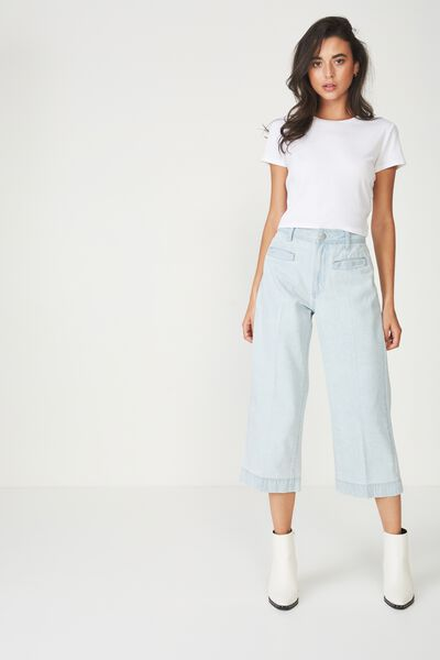 Mid Rise Wide Leg Crop Jean, BABY BLUE WELT POCKET PRESS