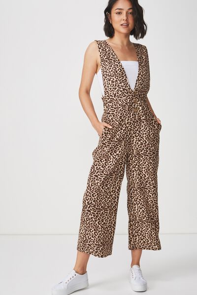 Woven Edie Low V Strappy Jumpsuit, SARAH LEOPARD TAN