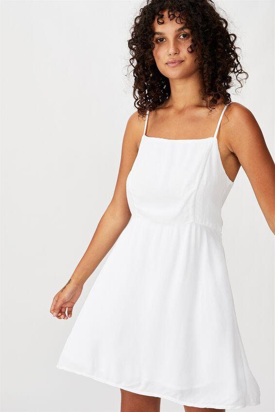 Woven Kendall Mini Dress, WHITE