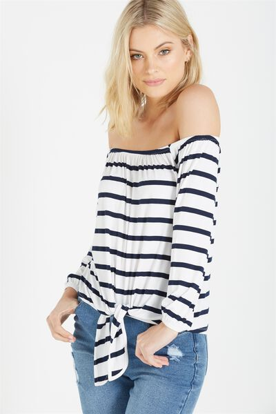 Avery Off The Shoulder Top, EMERSON STRIPE WHITE/MOONLIGHT