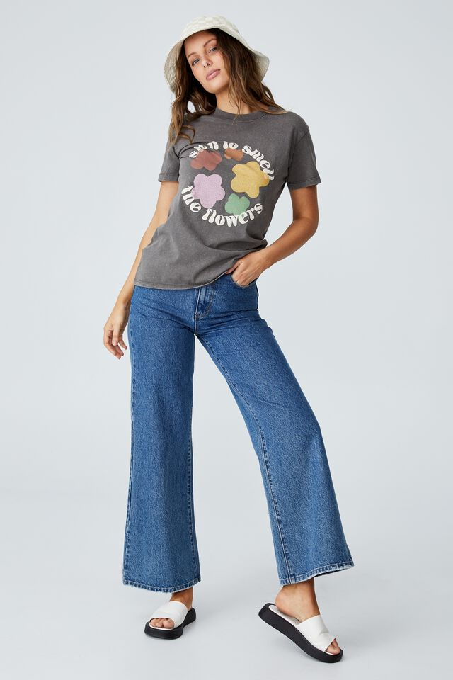 Classic Organic Cotton Graphic T Shirt, STOP TO SMELL THE FLOWERS/SLATE GREY