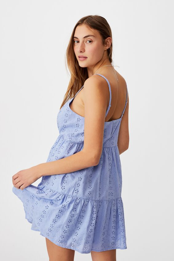 Woven Betty Tiered Mini Dress, VINTAGE BLUE