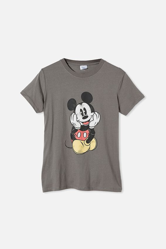 Classic Mickey Front & Back T Shirt, LCN DIS MICKEY FRONT AND BACK/SLATE GREY
