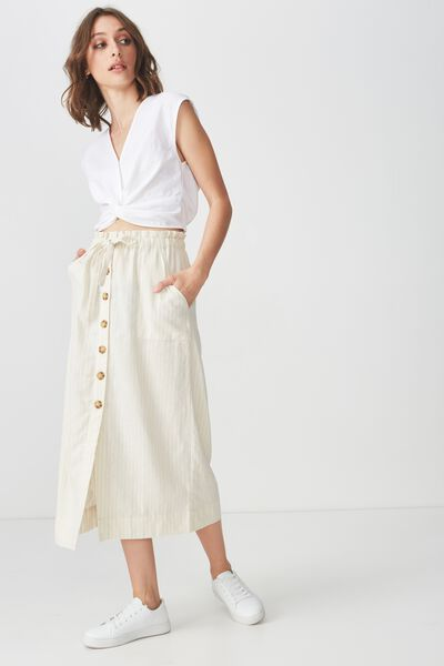 Woven Molly Button Through Midi Skirt, AMY SUBTLE STRIPE
