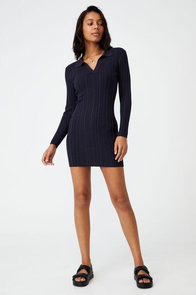 Nicola Knit Polo Long Sleeve Mini Dress, GRAPHITE